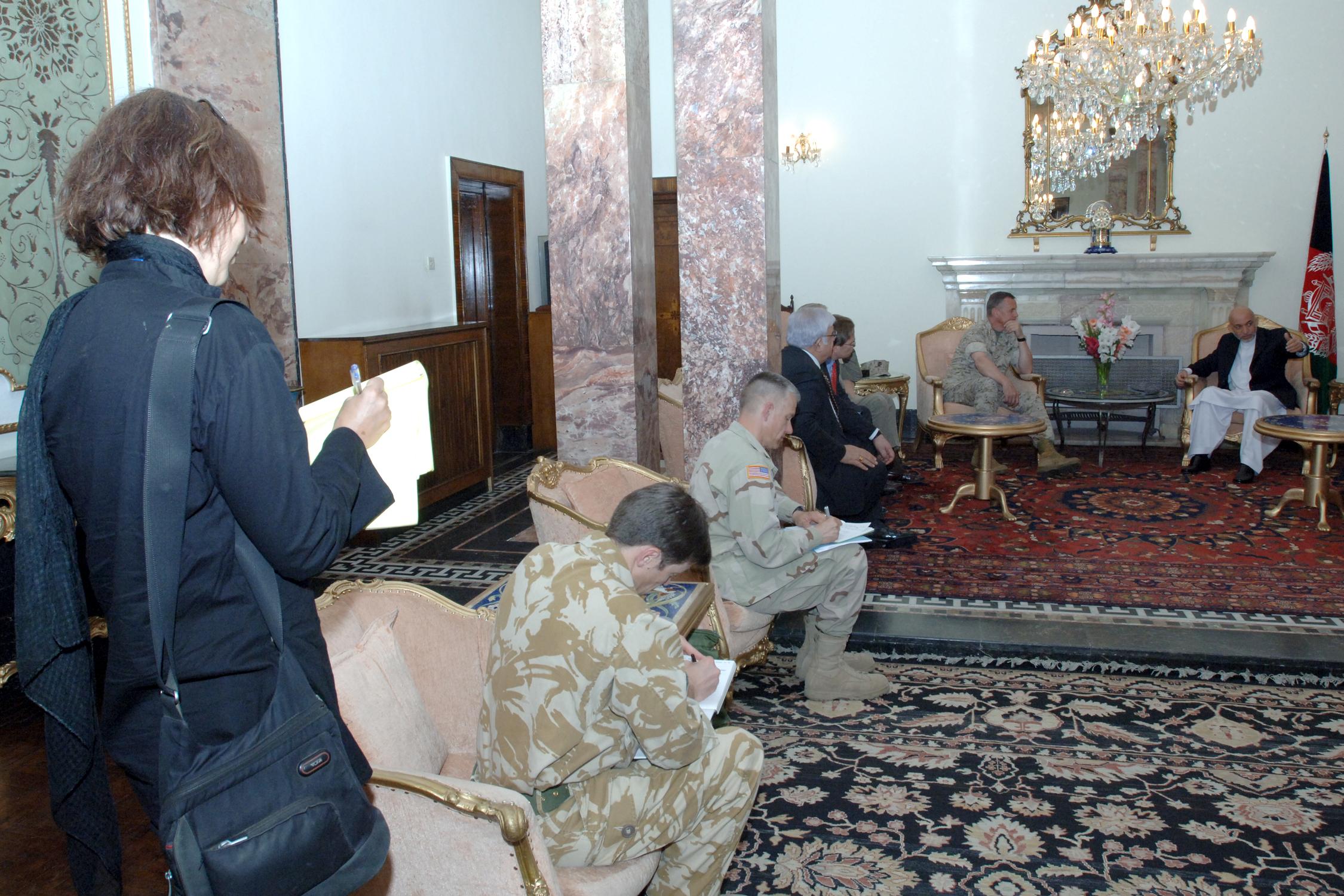Kim at a Karzai Press Event//2006