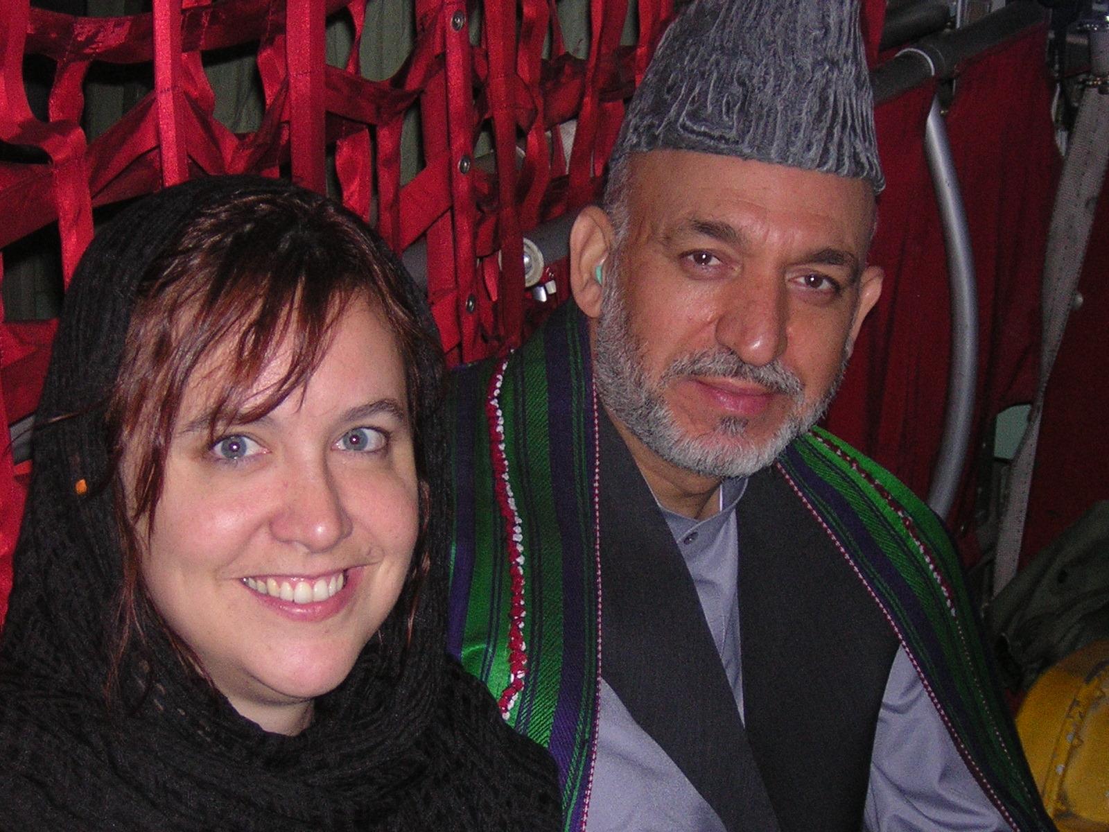 Kim Barker with President Hamid Karzai, 2004