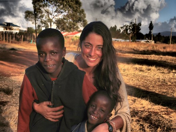 Rebecca Welsh with brothers from Kenya