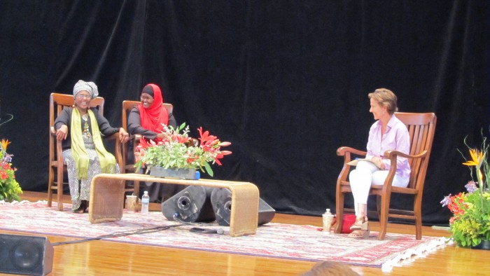 Dr. Abdi, daughter Dr. Mohammed, and interviewer Kati Marton at Chautauqua