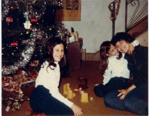 Carie, Danielle, and mom at Christmas 1984