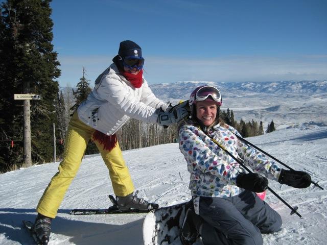 Erika and Parvati ESP gals snowboarding